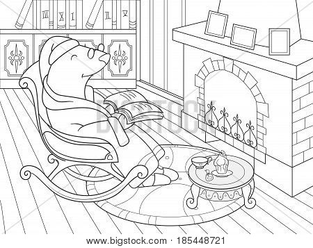 Grandpa Mole in his own house in the library dozens of coloring book for children cartoon vector illustration. Black and white interior of the house of animals Talpidae