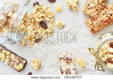 crunchy and muesli scattered on a table copy space background healthy breakfast concept