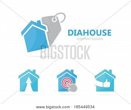 Vector of real estate and tag logo combination. House and shop symbol or icon. Unique rent and label logotype design template.