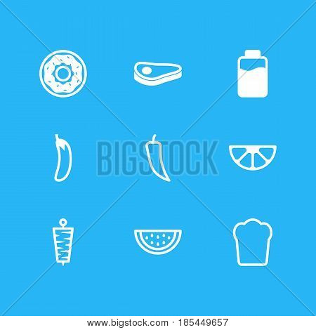 Vector Illustration Of 9 Meal Icons. Editable Pack Of Aubergine, Lactose, Loaf And Other Elements.