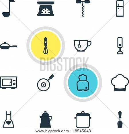 Vector Illustration Of 16 Cooking Icons. Editable Pack Of Measuring Tool, Skillet, Wine Opener And Other Elements.