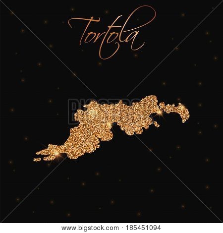 Tortola Map Filled With Golden Glitter. Luxurious Design Element, Vector Illustration.