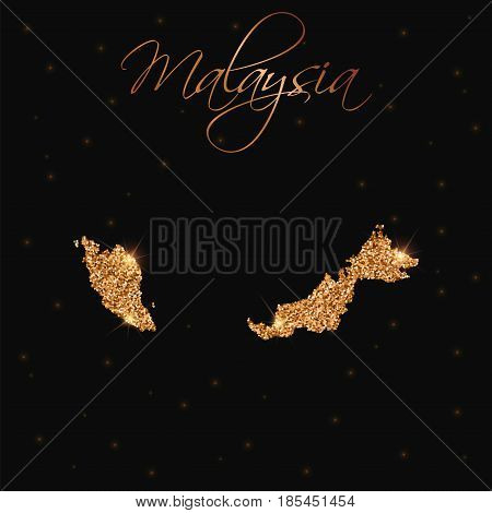 Malaysia Map Filled With Golden Glitter. Luxurious Design Element, Vector Illustration.