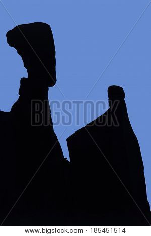 Silhouet of Nefertiti's Head Arches National Park Utah USA