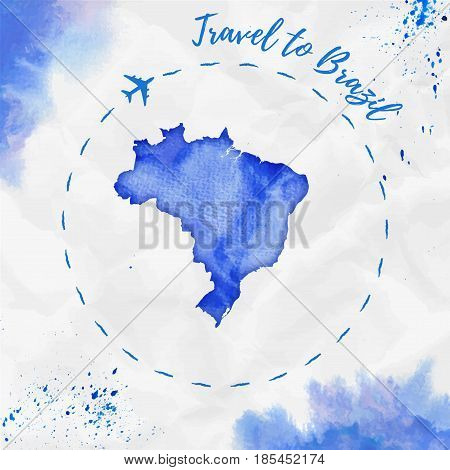 Brazil Watercolor Map In Blue Colors. Travel To Brazil Poster With Airplane Trace And Handpainted Wa