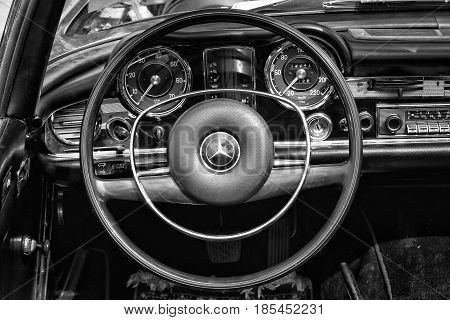 Berlin - May 11: Cab Driver Of The Car Mercedes-benz W113, 280Sl, (black And White), 26Th Oldtimer-t