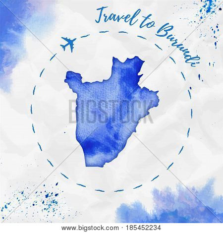 Burundi Watercolor Map In Blue Colors. Travel To Burundi Poster With Airplane Trace And Handpainted