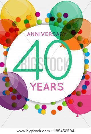Template 40 Years Anniversary Congratulations, Greeting Card, Invitation Vector Illustration EPS10