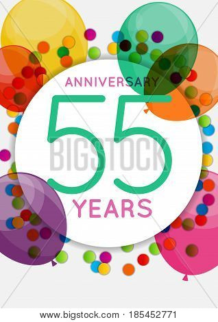 Template 55 Years Anniversary Congratulations, Greeting Card, Invitation Vector Illustration EPS10