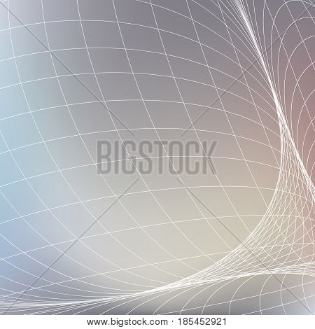 Abstract geometric background. White grid in light gray color space. Curves diverging fine lines in perspective Modern technology