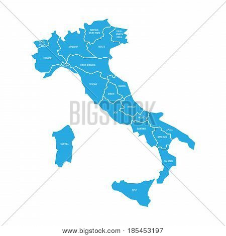 Map of Italy divided into 20 administrative regions. Blue land, white borders and white labels. Simple flat vector illustration.