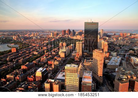 Aerial view of Boston at sunset, MA