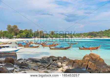 Holiday in Thailand - Beautiful Island of Koh Lipe with long tail boat by the beach at Satun Thailand.