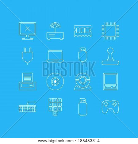 Vector Illustration Of 16 Laptop Icons. Editable Pack Of Game Controller, Pda, Microprocessor And Other Elements.