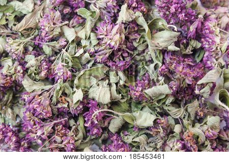 Dry herb of Origanum vulgare background, texture