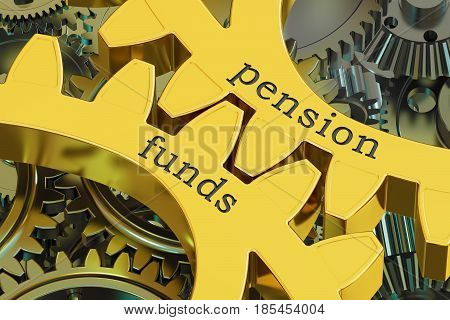 Pension Funds concept on the gearwheels 3D rendering