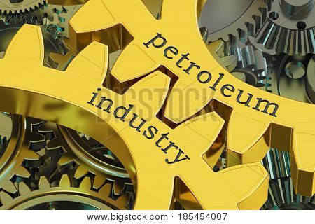 Petroleum Industry concept on the gears 3D rendering