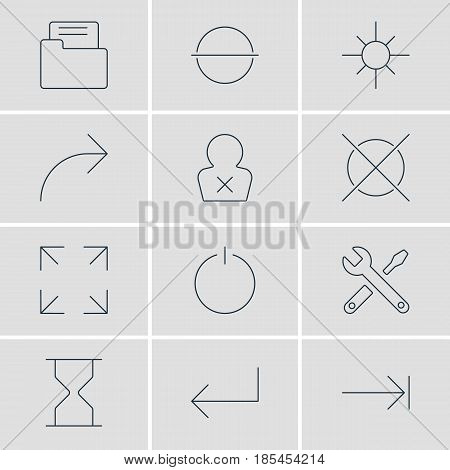 Vector Illustration Of 12 Interface Icons. Editable Pack Of Switch Off, Dossier, Banned Member And Other Elements.
