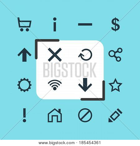 Vector Illustration Of 16 Interface Icons. Editable Pack Of Alert, Cogwheel, Access Denied And Other Elements.