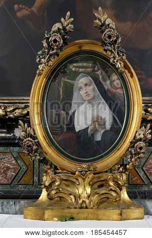ROME, ITALY - SEPTEMBER 03: Saint Rita of Cascia in Chapel of St Michael the Archangel, Basilica di Sant Andrea delle Fratte, Rome, Italy on September 03, 2016.