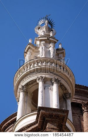 ROME, ITALY - SEPTEMBER 03: The bell tower of Basilica di Sant Andrea delle Fratte, Rome, Italy on September 03, 2016.