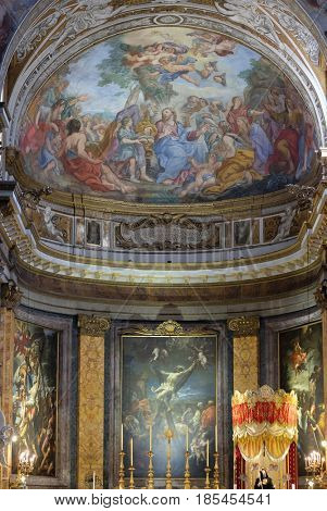 ROME, ITALY - SEPTEMBER 03: The fresco of The Miracle of Multiplication on the main apse of Basilica di Sant Andrea delle Fratte, Rome, Italy on September 03, 2016.