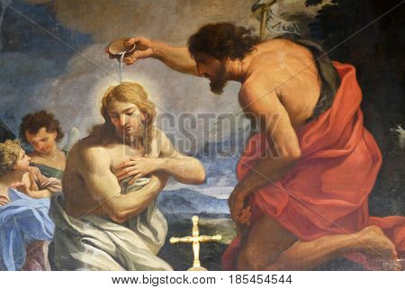 ROME, ITALY - SEPTEMBER 03: The Baptism of Christ in Chapel of St John the Baptist, Basilica di Sant Andrea delle Fratte, Rome, Italy on September 03, 2016.