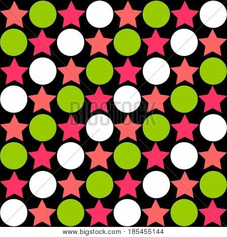 Seamless Abstract Pattern - Stars Alternating Circles In Bright Colors