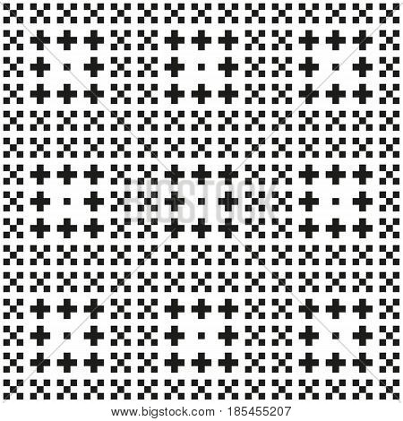 Seamles Monochorme Pixel Pattern With Different Ornaments