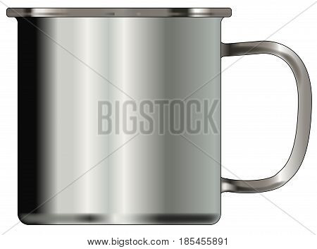 A typical silver coloured tin cup over a white background
