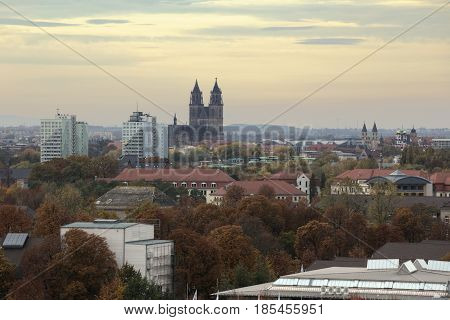 Overview Of Magdeburg City, Saxony-anhalt, Germany, In November