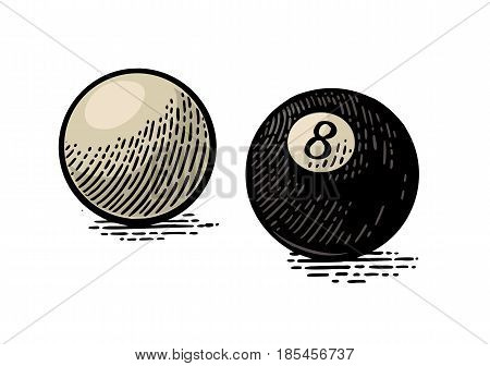White and eight billiard balls with shadow. Vintage color engraving illustration for poster web. Isolated on white background.