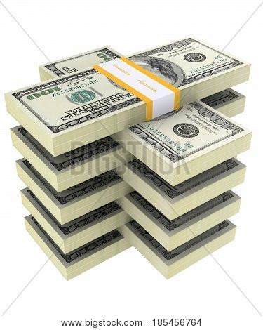 bundle of dollars on a white background.