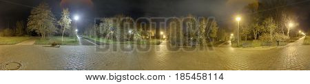 360 Degree Night Panorama Of Walkway Intersection In Greifswald, Germany