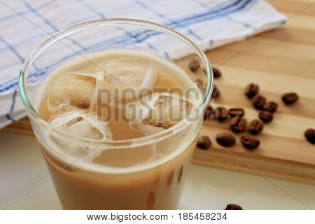 iced coffee latte isolated on white background