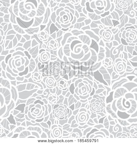 Vector gentle silver grey lace roses seamless repeat pattern background. Great for wedding or bridal shower decor, invitations, gifts. Surface pattern design.