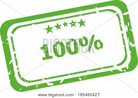 100% Rubber Stamp Over A White Background