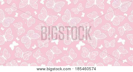 Vector Pastel Pink Butterflies Repeat Seamless Pattern Background. Can Be Used For Fabric, Wallpaper, Stationery, Packaging. Surface pattern design.