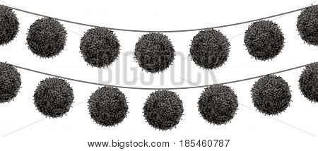 Vector Black Pom Poms Set On A String Horizontal Seamless Repeat Border Pattern. Great for handmade cards, invitations, wallpaper, packaging, nursery designs. Surface pattern design.