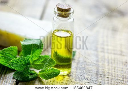 natural cosmetic oil with fresh mint for homemade spa on light wooden table background