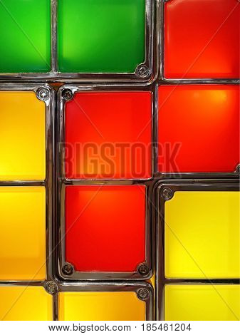 Colorful abstract lamp detail. Red yellow green.