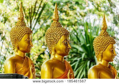 Three Big Buddha gold statues at the Temple Thailand