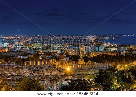 Rare Panoramic View of Thessaloniki at Dusk Long Exposure Shot