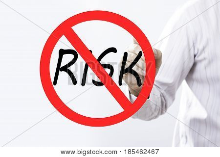 Businessman hand writing Risk prohibition sign concept with red marker on transparent wipe board.
