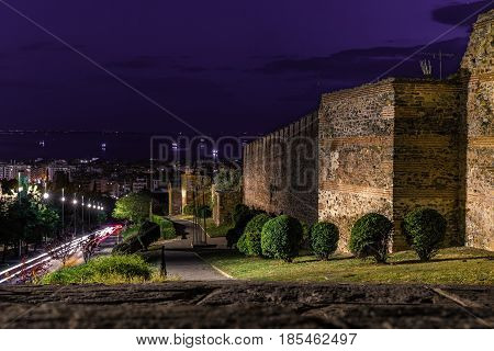 Walls of Thessaloniki with panoramic view of the city at dusk time Long Exposure