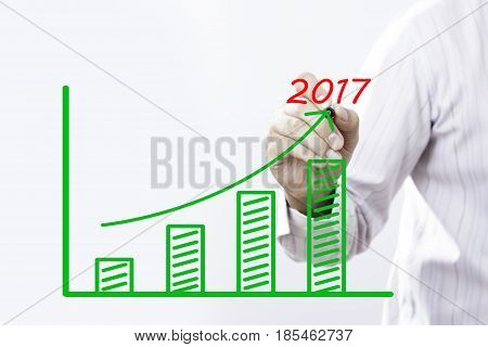 Businessman hand writing growth graph for year 2017 with red marker on transparent wipe board business concept.