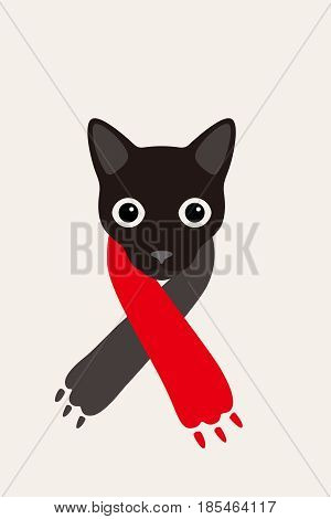 gentlemen cat wear a claw scarf like a man Fashion portrait of cat