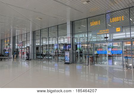 HANOI VIETNAM - NOVEMBER 25, 2016: Unidentified people travel at Hanoi International airport.