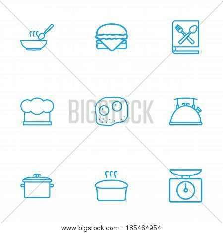 Set Of 9 Cooking Outline Icons Set.Collection Of Book Of Recipes, Scales, Soup And Other Elements.