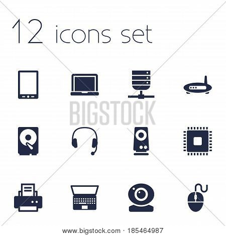 Set Of 12 Computer Icons Set.Collection Of Headset, Control Device, Peripheral And Other Elements.